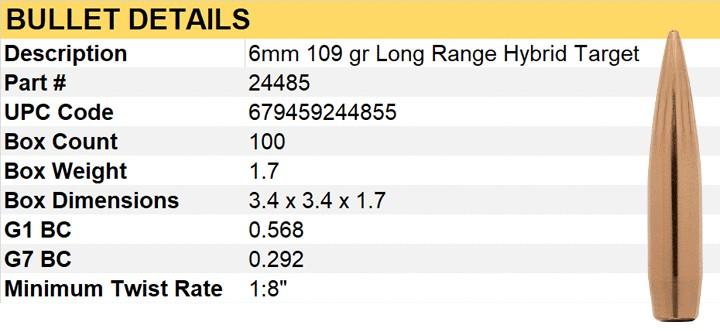Berger Kula LR Hybrid Target 6mm 109gr