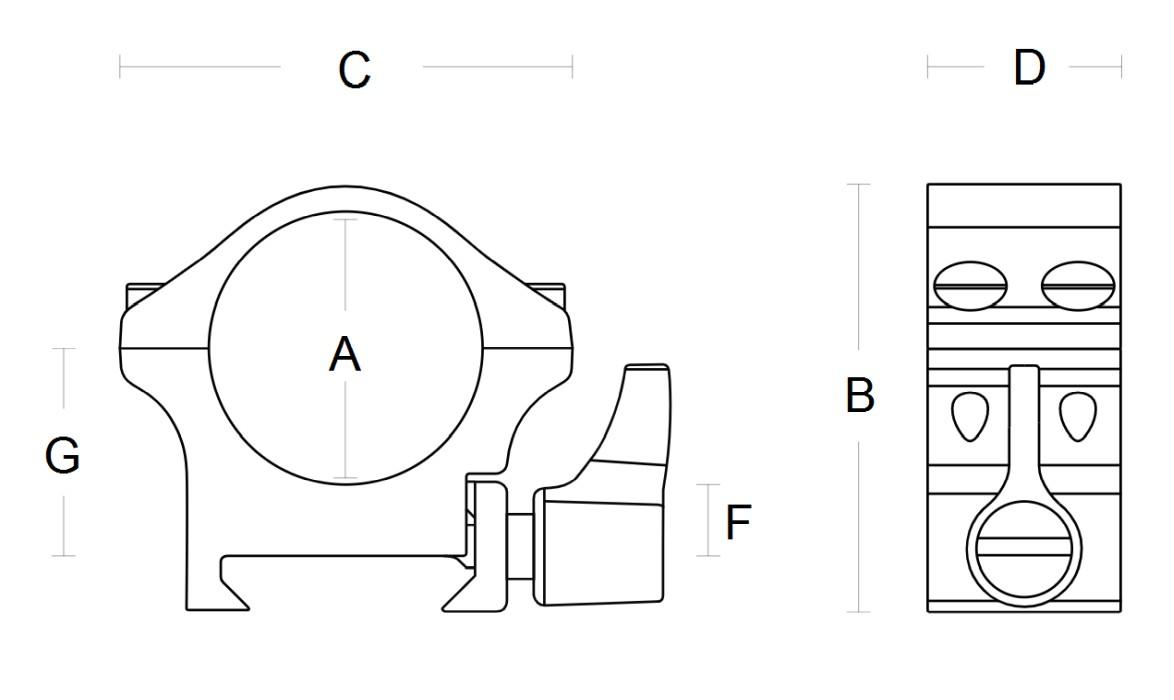 Hawke Match Mount 1 tum 9-11 mm