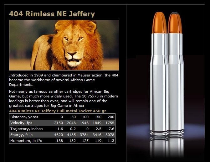Norma 404 Jeffrey 450 gr FMJ Woodleigh