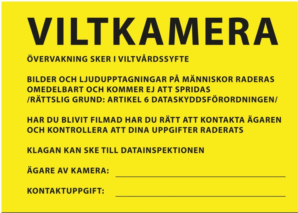 Varningsskylt Viltkamera/Åtelkamera